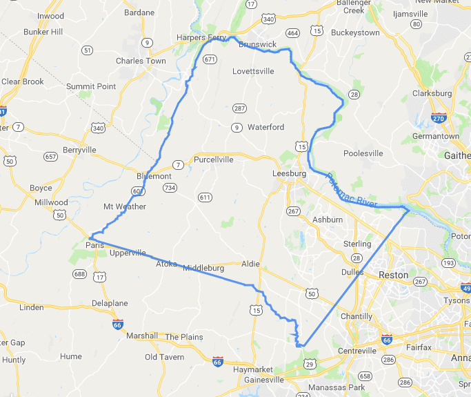 Map of Loudoun County Virginia