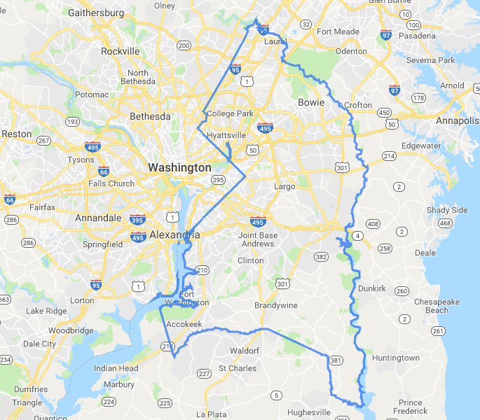 Map of Prince George's County Maryland